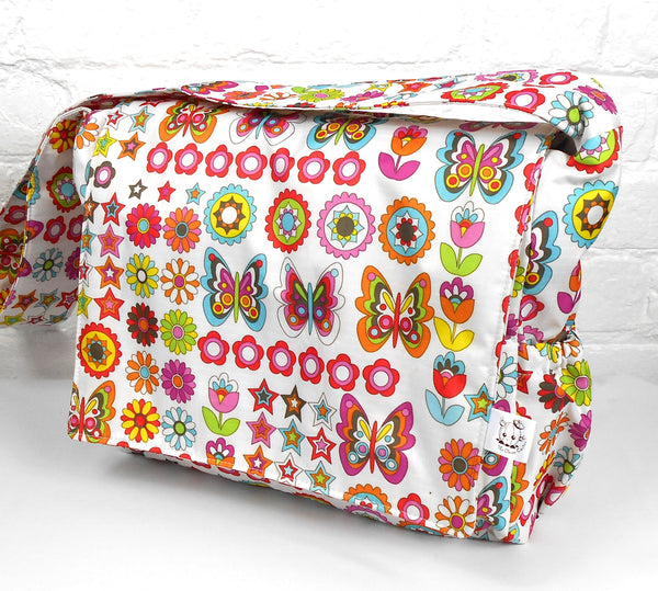Waterproof White Multicoloured Butterfly Baby Changing Nappy Diaper Bag with Accessories
