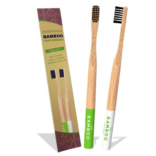 THE BAMBOO FACTORY BAMBOO TOOTHBRUSHES PACK OF 2