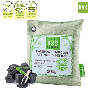PACK OF 2 ACTIVATED NATURAL BAMBOO CHARCOAL DEODORIZING AIR PURIFIERS 200G