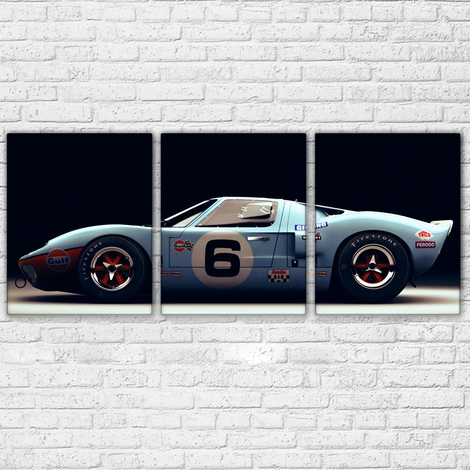 Sports Car Wall Poster Classic Ford Gt  Piece Canvas Set