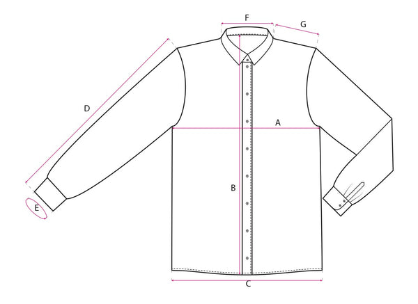 Cylvan shirt sizes reference image