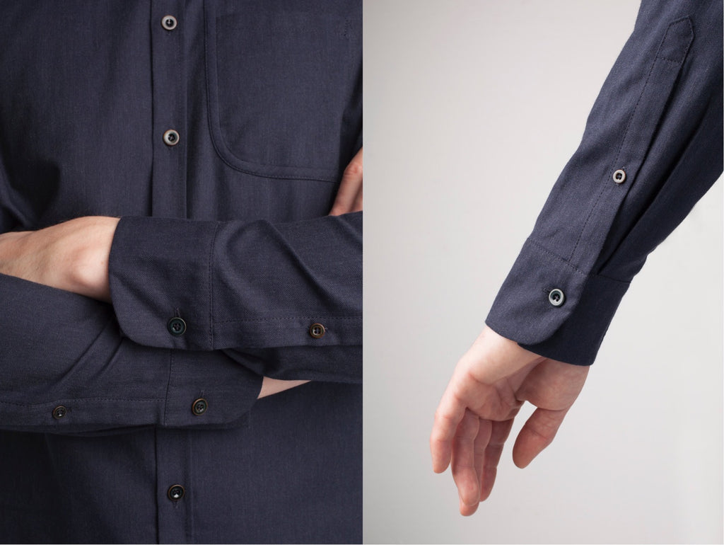 Cylvan long sleeved blue shirt sleeves and button details