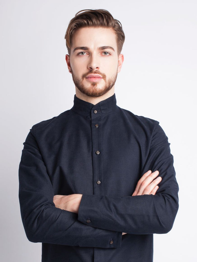 Long-sleeved dark blue shirt made of 100% cotton and made in Germany