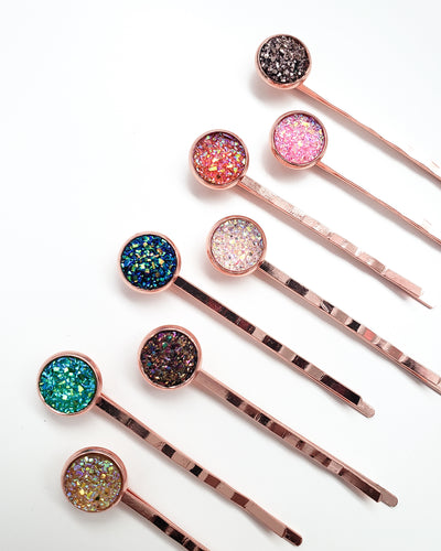 Rose Gold Druzy Hair Pin