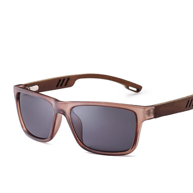 Rectangle Transparent Brown Wood Polarized Sunglasses.