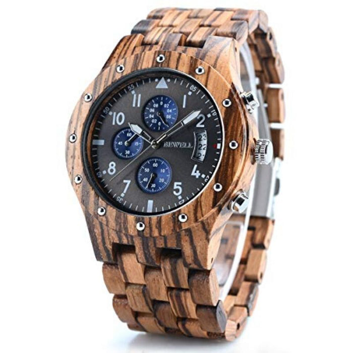 Bewell Chronograph Zebra Wood Watch