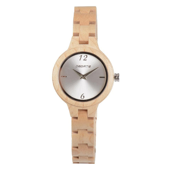Bedate Bewell Maple Bamboo Light Watch Brown Ladies Women Watch