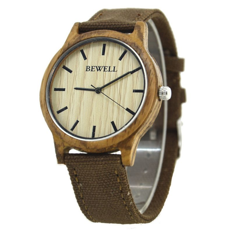 Bewell Unisex Zebra Wood Watch with Canvas Strap