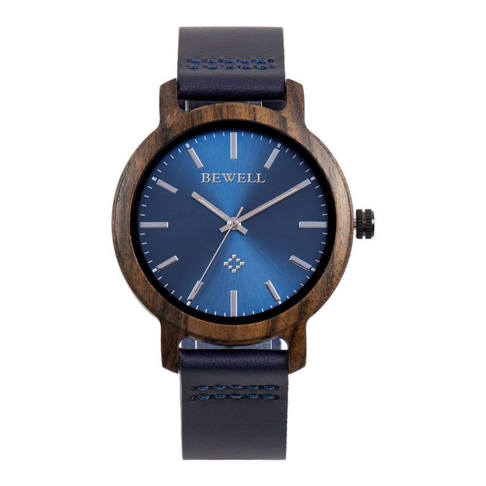 Bewell Black Sandalwood Wood Watch with Leather Strap