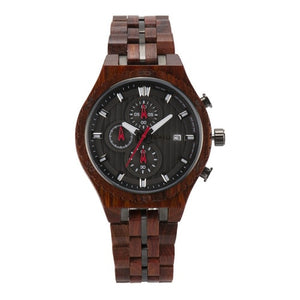 Bewell Chronograph Red Sandalwood Wood And Stainless Steel Watch