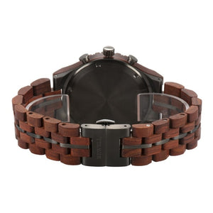 Bewell Chronograph Red Sandalwood Wood And Gun Black Stainless Steel Watch