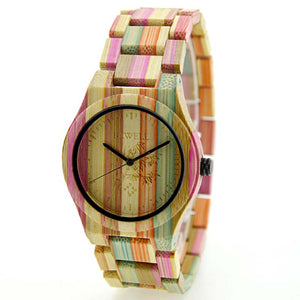 Bewell UniSex Pastel Color Bamboo Wood Watch