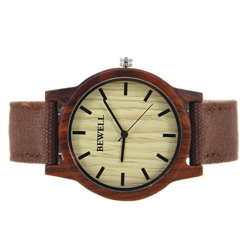 Bewell Unisex Red Sandalwood Wood Watch with Canvas Strap