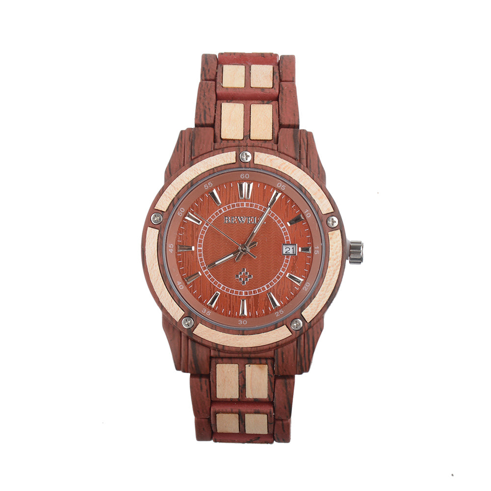 Bewell Luxary Red With Maple Wood Watch