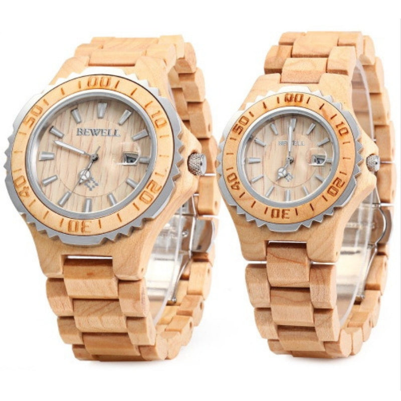 Bewell His & Hers Maple Wood Watches