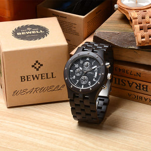 Bewell Chronograph Ebony Wood Watch