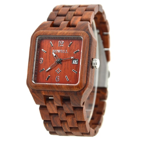 Bewell Red Sandalwood Square Wood Watch