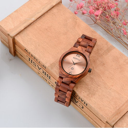 Bewell Women's Classic Red Sandalwood Wood Watch