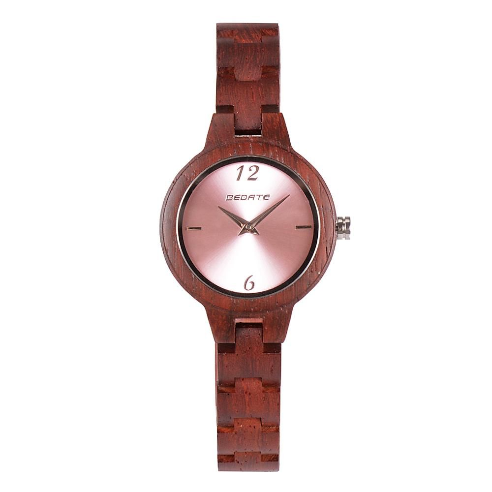 Bedate Bewell Rose Bamboo Light Watch Pink Ladies Women Watch
