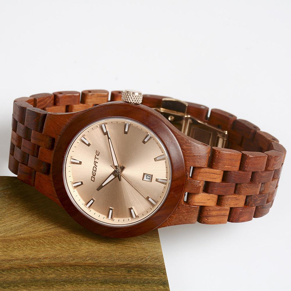 Bedate Pink Rose Wood Watch Bewell Bamboo Watch Woman