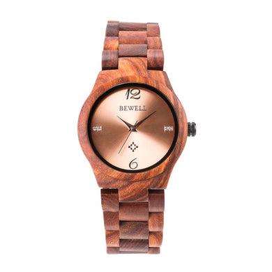 Bewell Women's Classic Bamboo Red Sandalwood Wood Watch