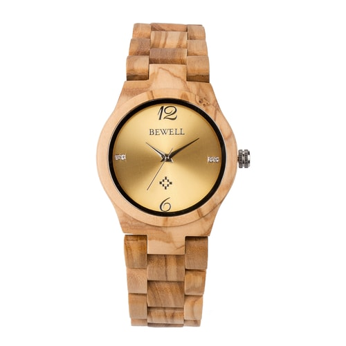Bewell Women's Classic Bamboo Olive Wood Watch