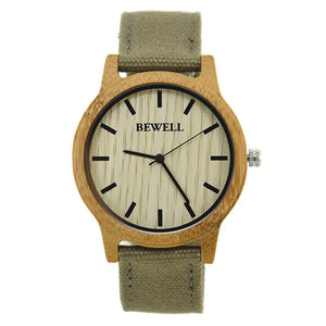 Bewell Unisex CARBONIZED WOOD Wood Watch with Canvas Strap