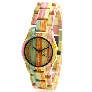 Bewell Ladies Pastel Color Bamboo Wood Watch