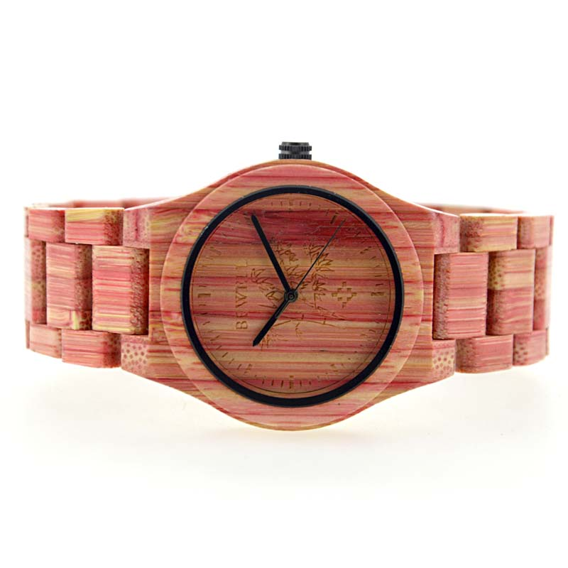 Bewell UniSex Pink Bamboo Wood Watch