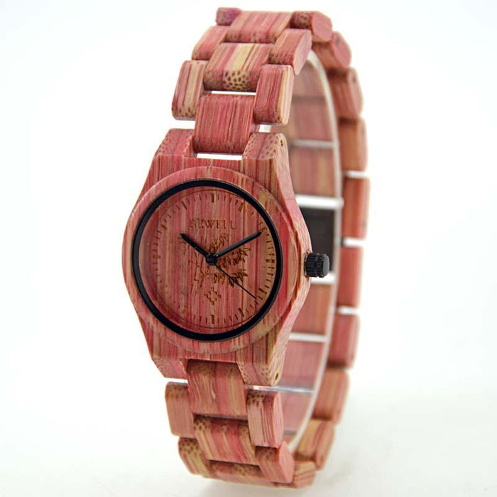 Bewell Ladies Woman Her Pink Bamboo Wood Watch