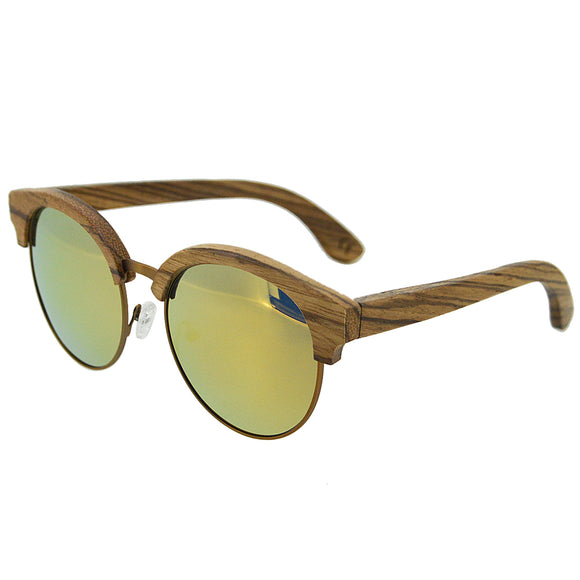 Bamboo Wood Retro Sunglasses Bewell Zebra Wood