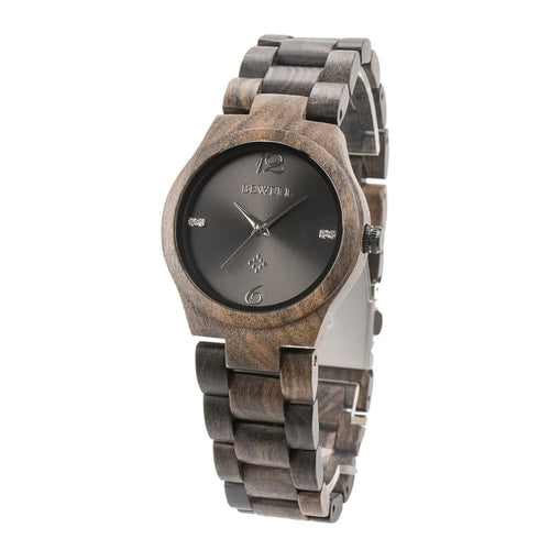 Bewell Women's Classic Bamboo Black Sandalwood Wood Watch