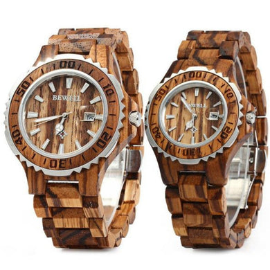 Bewell His & Hers Zebra Wood Watches