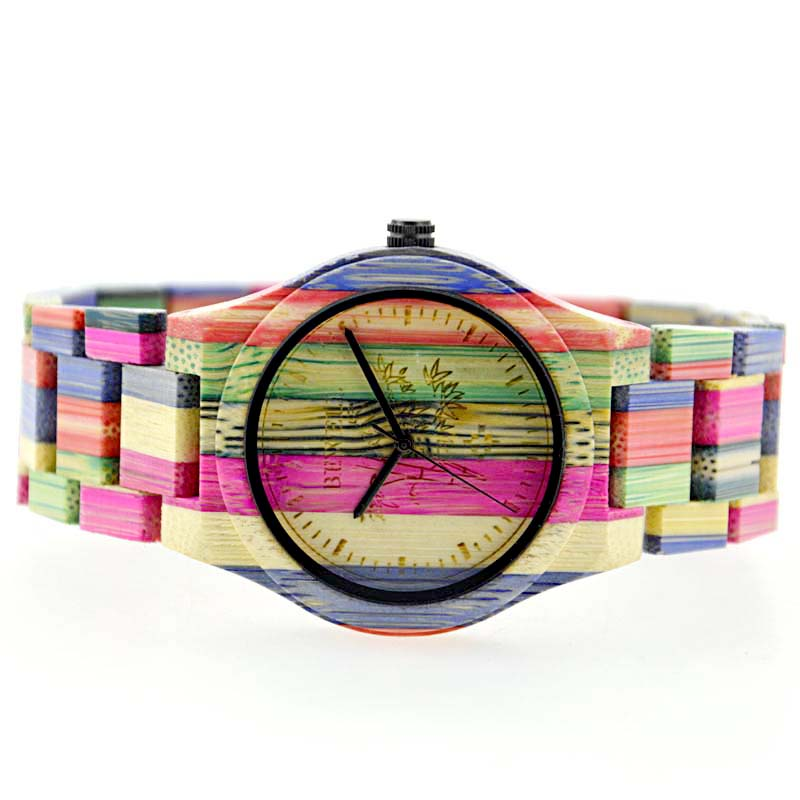 Bewell UniSex Bright Color Bamboo Wood Watch