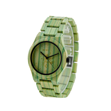Bewell UniSex Green Bamboo Wood Watch