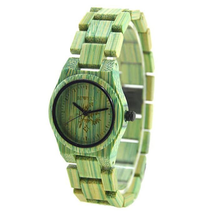 Bewell Ladies Woman Her Green Bamboo Wood Watch