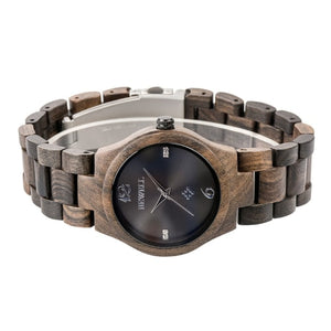Bewell Women's Classic Black Sandalwood Wood Watch