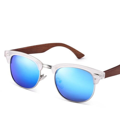 Club Master Blue Wood Polarized Sunglasses.