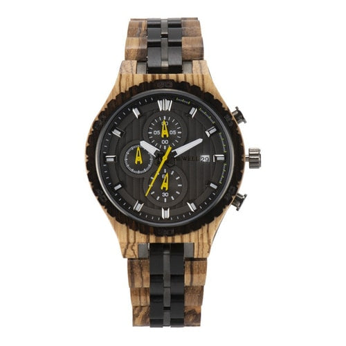 Bewell Chronograph Zebra Wood And Stainless Steel Watch