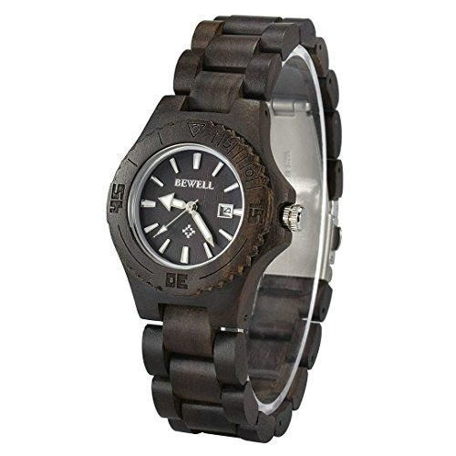 Woman Ladies Bewell Bamboo Ebony Wood Watch Her