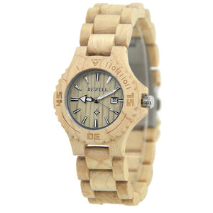 Bewell Ladies Maple Wood Watch