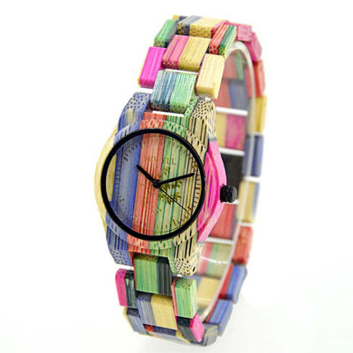 Bewell Ladies Multi-Color1 Bamboo Wood Watch