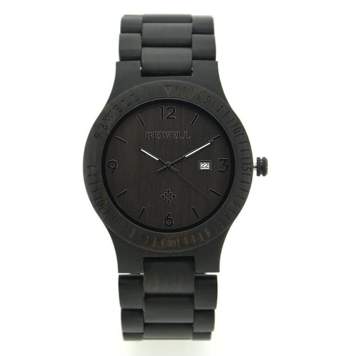 Bewell Retro Bamboo Ebony Wood Watch