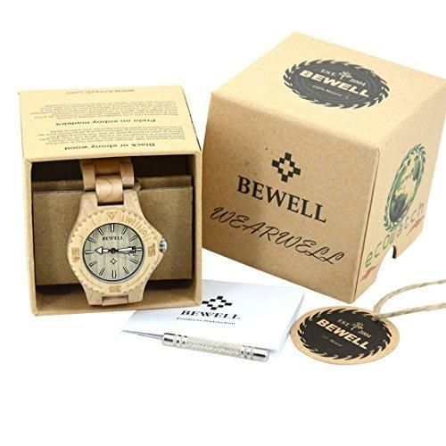 Woman Ladies Bewell Bamboo Maple Wood Watch Her