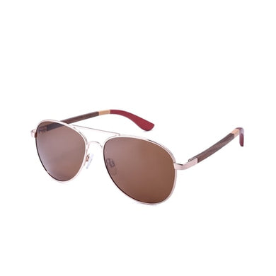 Aviator Style Gold & Three Color Walnut Bamboo Wood Sunglasses