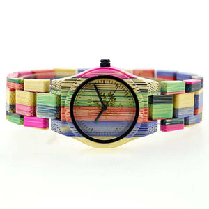 Bewell Ladies Bright Color Bamboo Wood Watch