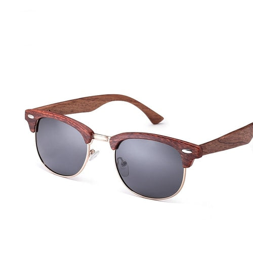 Club Master Rose Wood Polarized Sunglasses.