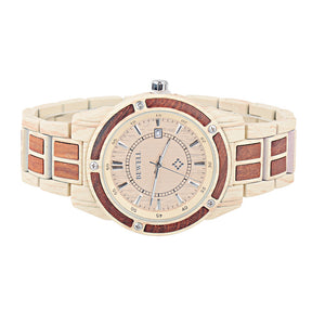 Bewell Luxary Maple With Red Wood Watch
