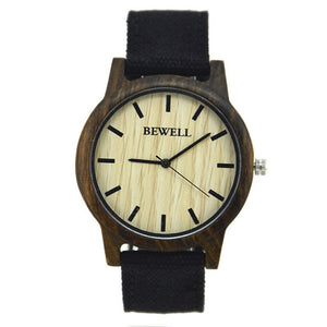 Bewell Unisex Black Sandalwood Wood Watch with Canvas Strap