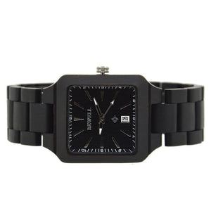 Bewell Ebony Square Wood Watch